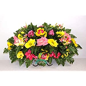 Beautiful XL Spring Mixture Cemetery Saddle Flower Arrangement ... 3