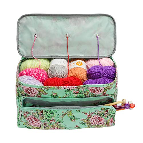 Looen Knitting Bag Large Size,Yarn Storage Organizer Tote Bag Holder Case Cuboid with Zipper Closure and Pocket for Knitting Needles Crochet Hooks Project Accessories,Easy to Carry,Best Gift