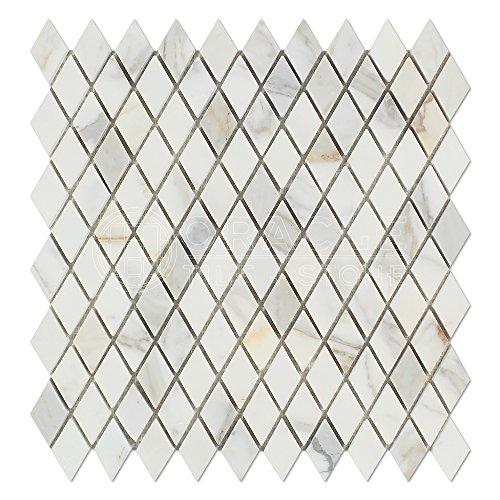 - Calacatta Gold (Italian Calcutta) Marble Diamond - Rhomboid Mosaic Tile, Honed