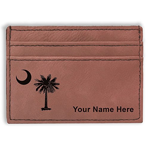 Money Clip Wallet, Flag of South Carolina, Personalized Engraving Included (Dark Brown)