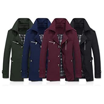 Amazon.com: HYIRI Men Jacket Overcoat Outwear Slim Long Trench Buttons Coat: Clothing