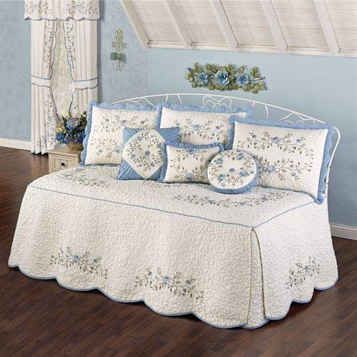 Touch of Class Antique Charm Dusty Blue Embroidered Floral Quilted 4-Piece Daybed Set