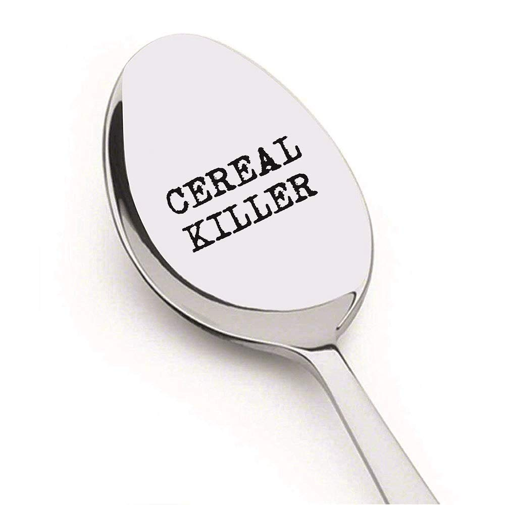 Cereal Killer Spoon by Weenca - Sturdy Engraved Spoon – Cereal Spoon is Simple and Elegant with a Mirror Finish - Long lasting Inscription & hard to Bend