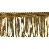 Brushed Fringe 2-Inch Long Chainette Polyester Fringe in 10 Yard Rolls P-7043 in Color 10 Gold