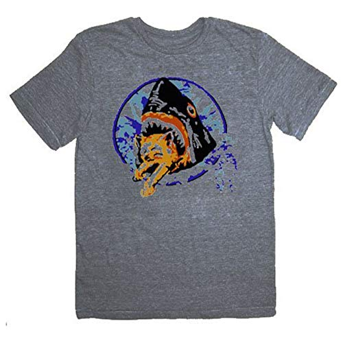 TV Store Pineapple Express Saul Silver Shark Eating Kitten Gray Adult T-shirt Tee (Medium)]()