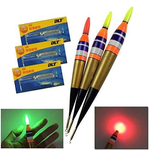 QualyQualy LED Electronic Fishing Float Saltwater Sea Rock Fishing Floats 11.3g Luminous Fishing Buoys Balsa Wood Lighting Bobbers 3Pcs #3