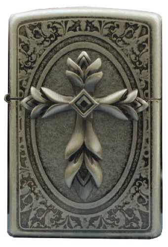 Cross Emblem Zippo Lighter - Zippo Lighter Genuine Design DPray Emblem Silver Antique