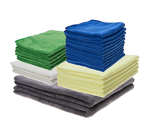 Microfiber Cleaning Cloth For Automobiles, Cars, Kitchen, Bathroom & General Household Cleaning. Pack of 25 Clothes with Different Sizes & Thickness For Streak-free Results. Eco Friendly