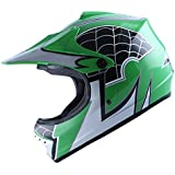 WOW Motocross BMX Youth ATV Dirt Bike Green Spider MX Helmet, L (54-55 CM,21.3/21.7 Inch)