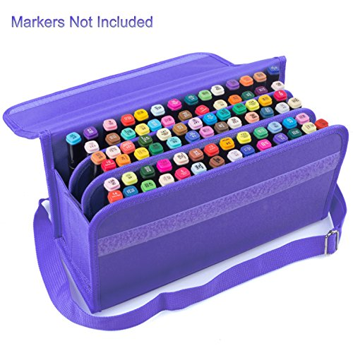 ADVcer Marker Storage Case 80 Holders, Foldable and Extendable Velcro Oxford Organizer with Carrying Handle, Shoulder Strap for Copic Markers, Sharpie Marker, Dry Erase / Permanent Markers Set, Purple (Dry Marker Erase Permanent)