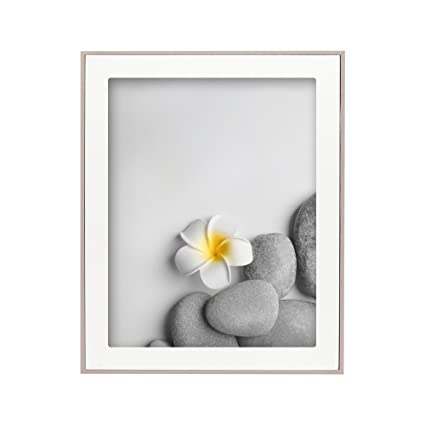 Amazon.com - Afuly 8x10 Picture Frame with White Wooden Mat in ...