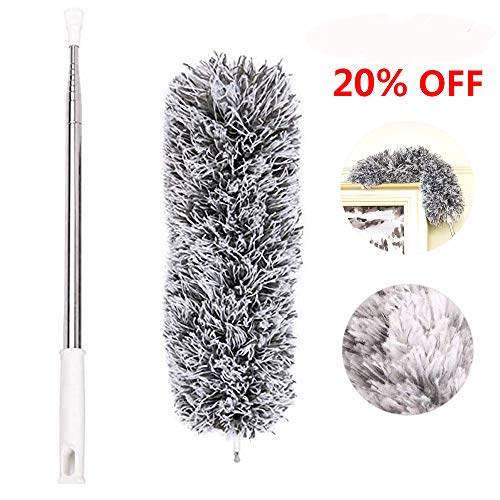 Microfiber Duster, Feather Duster, 110 Inches Long with Telescoping Extension Pole and 360°Flexible Bendable Washable Lint Free Head for Cleaning High Ceilings Ceiling Fans Cobweb Car Furniture Blinds (Reach Duster Long)