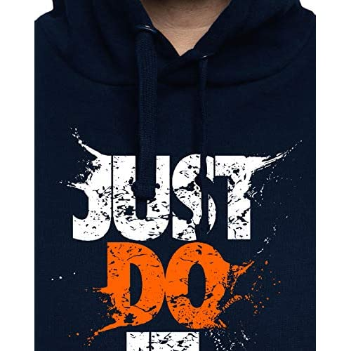 51mFiiayviL. SS500  - ADRO Men's Just Do It Typography Printed Cotton Hoodies