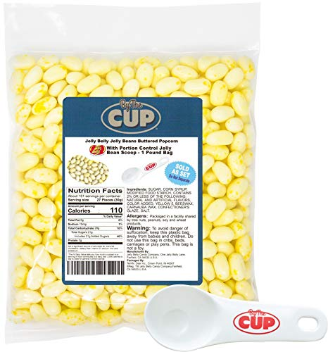 Jelly Belly Jelly Beans - Buttered Popcorn flavor 1 Pound Bag - with By The Cup Portion Control Jelly Bean Scoop ()