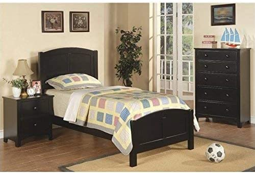 Poundex 3 Piece Kids Twin Size Bedroom Set in Rich Black Finish, Multi