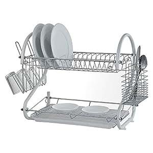 Escurreplatos de 2 pisos de St@llion®, soporte para platos de 46 cm, acero inoxidable, Blanco, Approx 42 x 24.5 x 39.5cm ( L X W X H)