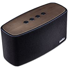 COMISO 30W Bluetooth Speakers with Dual Super Bass Driver, Bamboo Wood Home Speaker with Subwoofer - (Black)
