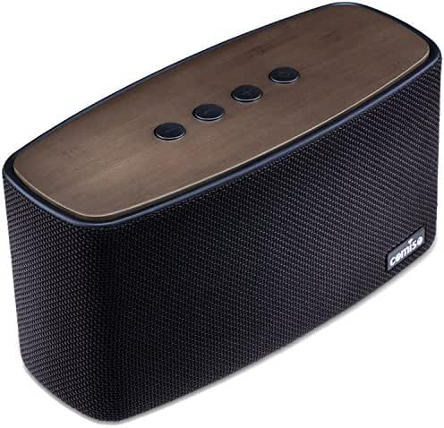 COMISO 30W Bluetooth Speakers with Super Bass, Bamboo Wood Home Speaker with Subwoofer - (Black)