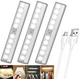 PowerKing USB Rechargeable Magnetic Motion Sensor Light, 10 LED Cordless Closet LightingBattery Powered Night Light with Strip use for Wardrobe Stairs Basement Kitchen(Silver Aluminium,3 Pack)