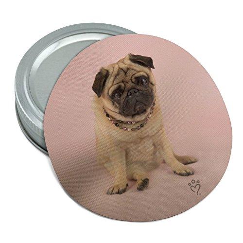 Pug Puppy Dog Sitting Pink Necklace Round Rubber Non-Slip Jar Gripper Lid Opener ()
