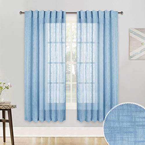 RYB HOME Privacy Linen Sheer Curtain Drapes for Kitchen Window Wall Decor, 2 Hanging Options Semi Sheer Panels for Bedroom/Living Room/Cafe, Baby Blue, 52 inch Width by 45 inch Length, Set of 2 (Panels Sheer Blue)