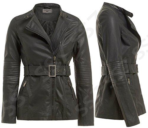 femmes SS7 Noir 8 cuir motard simili nouvelles 16 Manteau noir Tailles pour fxnBxAwq6
