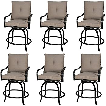 d5dddf4b7fb Rimba Outdoor Swivel Chairs Height Patio Bar Stools with Beige Cushions  (Set of 6)