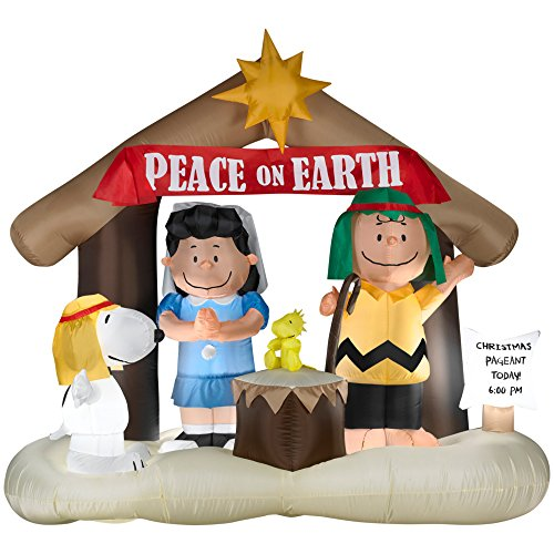 Large Peanuts Nativity Scene Outdoor Inflatable