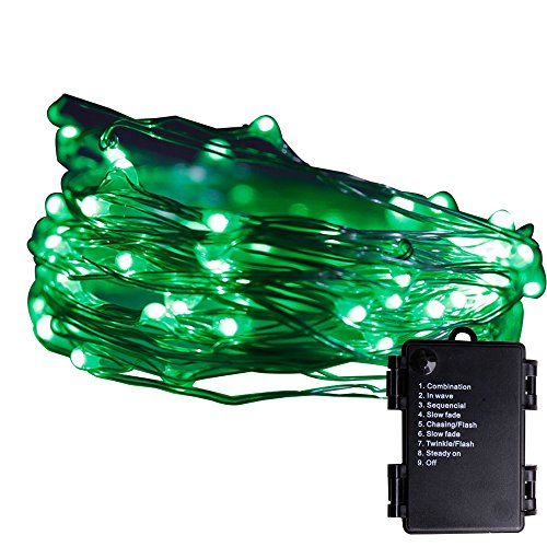 Multi Color Green Wire (Pansdore Christmas Lights 60 LED Fairy String Lights for Indoor Outdoor Party, Copper Wire, 8 Modes, Green)