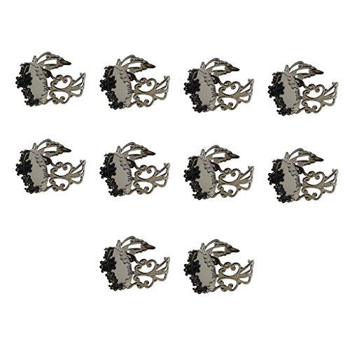 - Homyl 10 Pieces 15mm Metal Vintage Antique Round Circle Crown Edge Bezel Tray Caps Filigree Ring Settings Blank DIY Cameo Ring Jewelry Making Crafts - Hematite