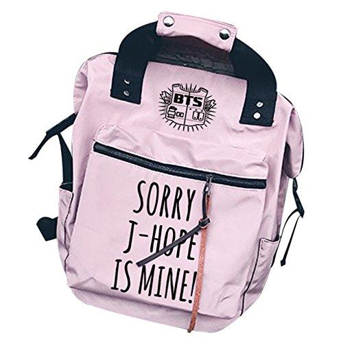 KPOP Bangtan Boys BTS Canvas Backpack Fashion Laptop Bags Casual Daypack Schoolbag J - Hope.pink