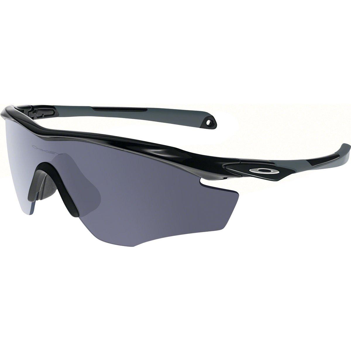 Oakley Men's OO9343 M2 Frame XL Shield Sunglasses, Polished Black/Grey, 45 mm by Oakley