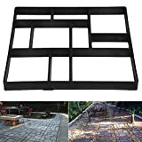 Topeakmart 1 PCS Concrete Paving Stepping Stone Mold Path Walk Maker Paver Walk Way, Rectangular Patterns with 10 grid, 23.8'' x 19.9'' x 1.7'', Black