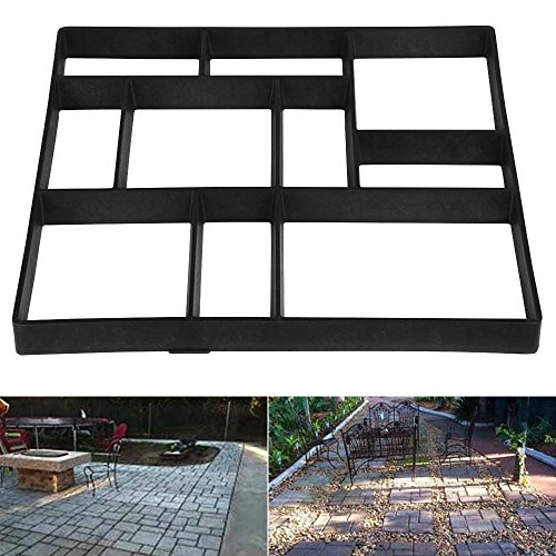 Black Patio Brick - Topeakmart 1 PCS Concrete Paving Stepping Stone Mold Path Walk Maker Paver Walk Way, Rectangular Patterns with 10 grid, 23.8