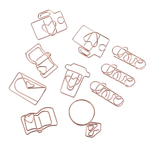 - Baosity 10 Pieces Mixed Shape Paperclips Paper Clips Bookmarks for Office School Rose gold