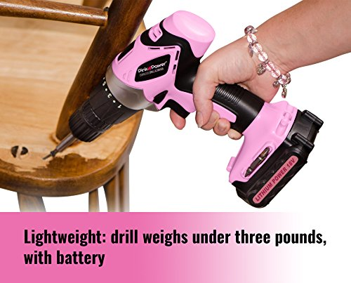 Pink Power PP181LI 18 Volt Lithium-Ion Cordless Electric Drill Driver Kit for Women- Tool Case, Drill Set, Battery & Charger by Pink Power (Image #3)