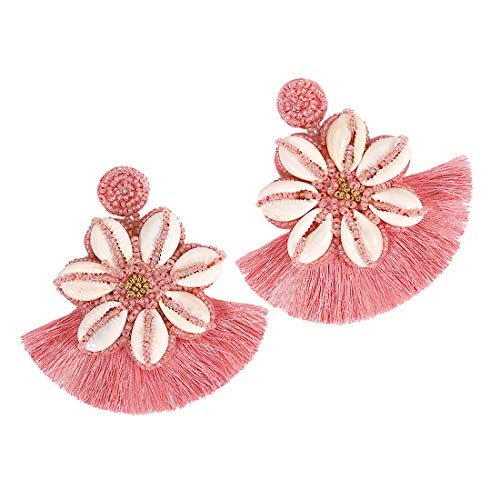Dvacaman Hoop Tassel Earrings for Women - Statement Handmade Beaded Fringe Dangle Earrings, Idea Gift for Mom, Sister and Friend (Shell Pink)
