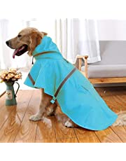 NACOCO Large Dog Raincoat Adjustable Pet Water Proof Clothes Lightweight Rain Jacket Poncho Hoodies with Strip Reflective