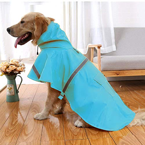 NACOCO Large Dog Raincoat Adjustable Pet Water Proof Clothes Lightweight Rain Jacket Poncho Hoodies with Strip Reflective (XXXL, Lake Blue)