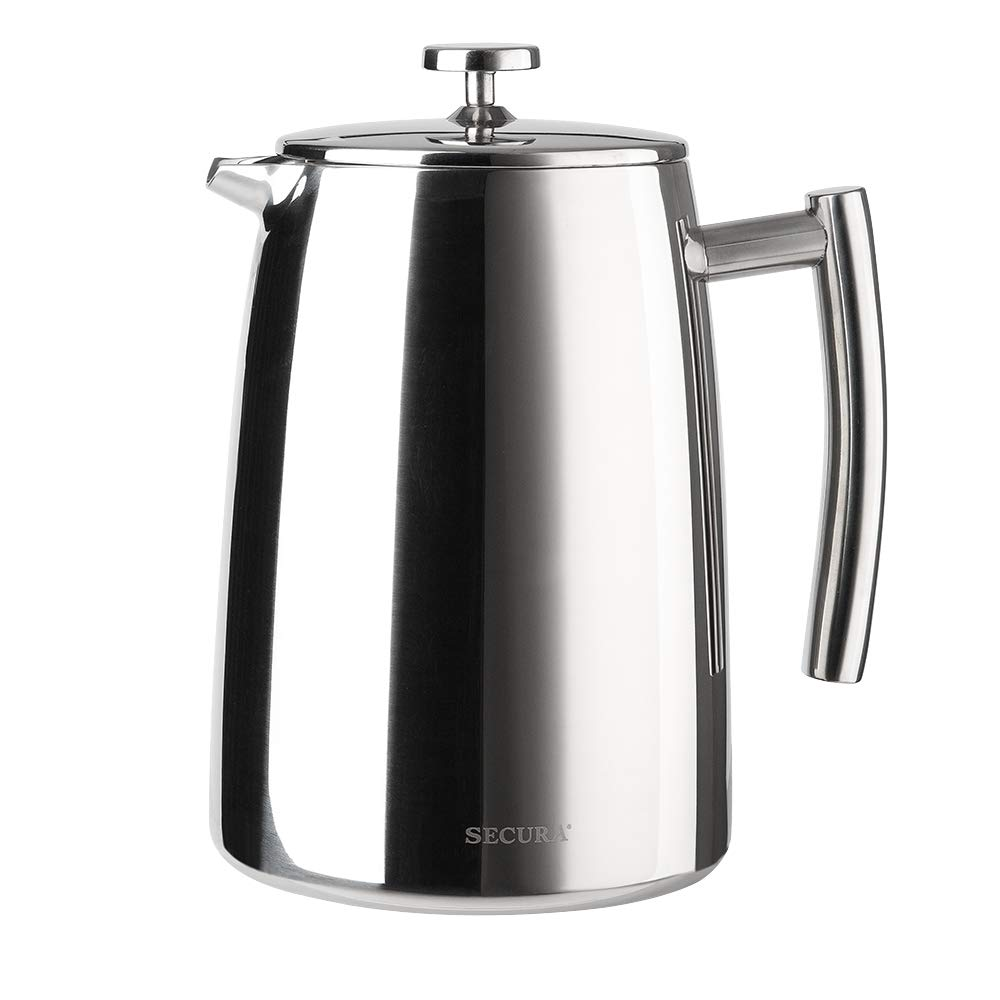 Secura 1500ML French Press Coffee Maker, 50-Ounce, Stainless Steel 18 10 SFP-50DSC, Extra Stainless Steel Screen