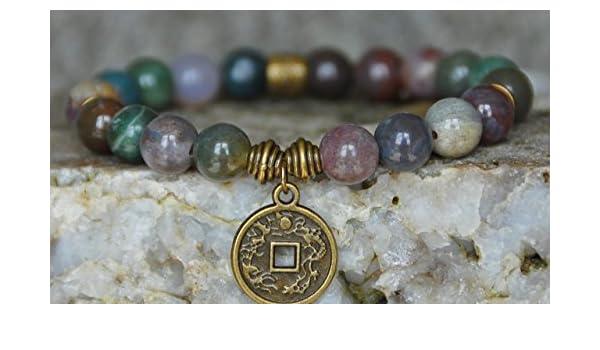 Amazon.com  Indian Agate, Lucky Coin Gemstone bracelet,Good Luck mala  bracelet, Reiki Bracelet, buddhist bracelet, meditation, yoga bracelet,   Handmade f50b436fb8b