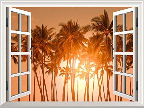 Removable Wall Sticker Wall Mural Beautiful Tropical View of Palm Trees at Sunset Creative Window View Wall Decor