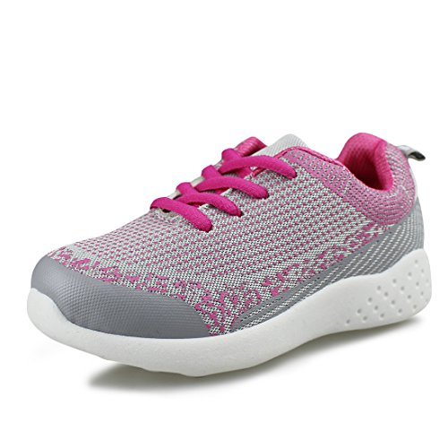 Hawkwell Kids Breathable Running Shoes Outdoor Easy Walking Sneakers(Toddler/Little Kid/Big Kid),Grey Fuchsia Fabric,11 M US -