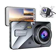 """JEEMAK 4"""" IPS Dual Lens Dash Cam for Cars FHD 1080P Dashboard Camera 170 degree Wide Angle In Car Vehicle Driving DVR Recorder with G-Sensor Parking Monitor WDR Loop Recording Night Vision"""