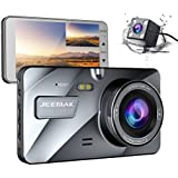 JEEMAK 4 IPS Dual Lens Car Dash Cam FHD 1080P Dashboard Camera 170 degree Wide Angle In Car Vehicle Driving DVR Recorder with G-Sensor Parking Monitor WDR Loop Recording Night Vision