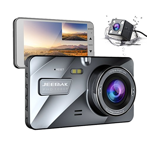 【Upgraded 720P Rear】 Jeemak Dual Lens Dash Cam Front and Rear 1080P Dashboard Camera,Night Vision Waterproof Backup Camera,4″ IPS LCD, in Car Vehicle Driving DVR Recorder, G-Sensor Parking Monitor