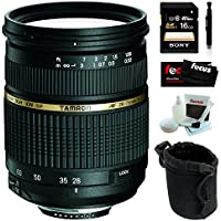 Tamron AF 28-75mm f/2.8 SP XR Di LD Aspherical (IF) Zoom Lens for Sony DSLR with Sony 16GB SDHC Memory Card and accessory bundle