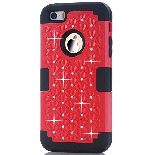 IPhone 5S Coque,IPhone 5 Coque,Iphone SE Coque,Lantier [Hard Coque Doux dur] concepteur Crystal Bling Hybrid Cover Coque Armure pour Apple Iphone 5/5S/SE Rouge + Noir
