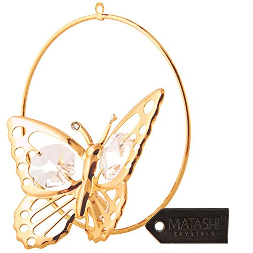 24K Gold Plated Butterfly in a Circle Crystal Studded Hanging Ornament by Matashi (Animal That Starts With M)