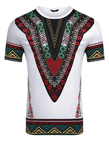 (COOFANDY Mens African Print Shirt Dashiki Fashion Short Sleeve T Shirts Top Tee,White,X-Large)